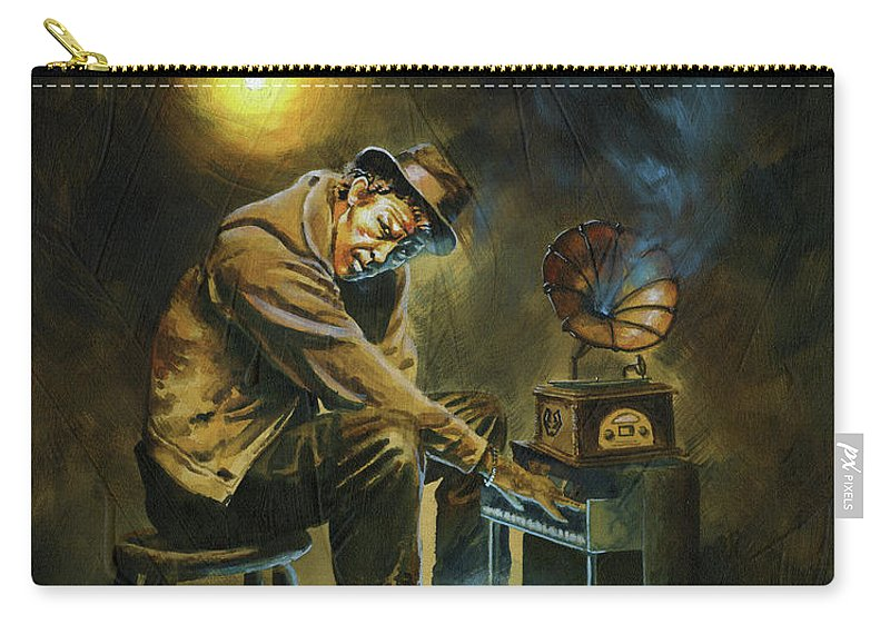 Tom Waits Carry-all Pouch featuring the painting Tom Waits by Ken Meyer jr