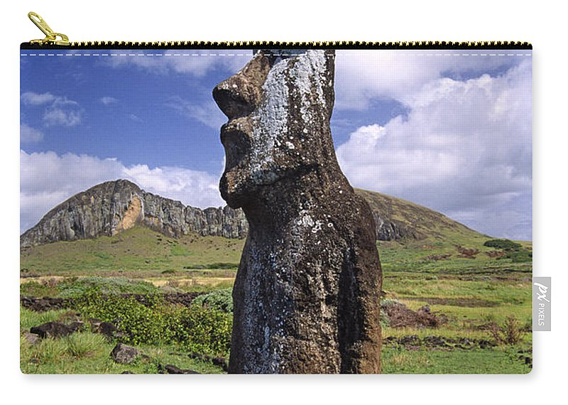 Easter Island Carry-all Pouch featuring the photograph Tongariki Moai On Easter Island by Michele Burgess