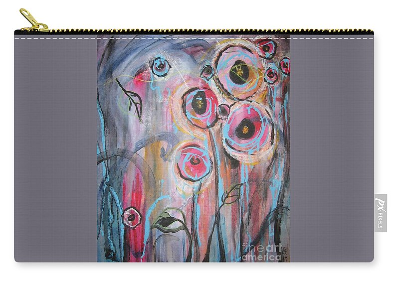 Aabstract Paintings Carry-all Pouch featuring the painting Too Many Temptations by Seon-Jeong Kim