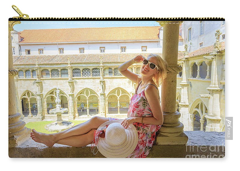 Coimbra Carry-all Pouch featuring the photograph Tourist Woman In Coimbra by Benny Marty