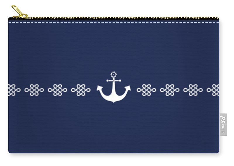 Japan Carry-all Pouch featuring the digital art Treasure Knot And Anchor In Blue 2 1 by Helga Novelli