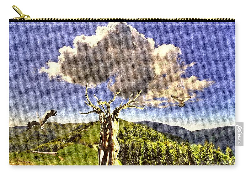 Landscape Carry-all Pouch featuring the mixed media Tree Blossom 1 by Pemaro