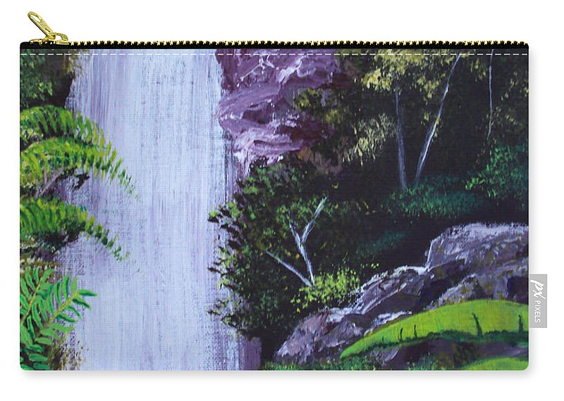 Tropical Carry-all Pouch featuring the painting Tropical Waterfall by Luis F Rodriguez