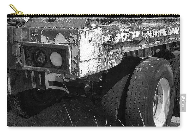 Black And White Carry-all Pouch featuring the photograph Truck Lights by Rob Hans