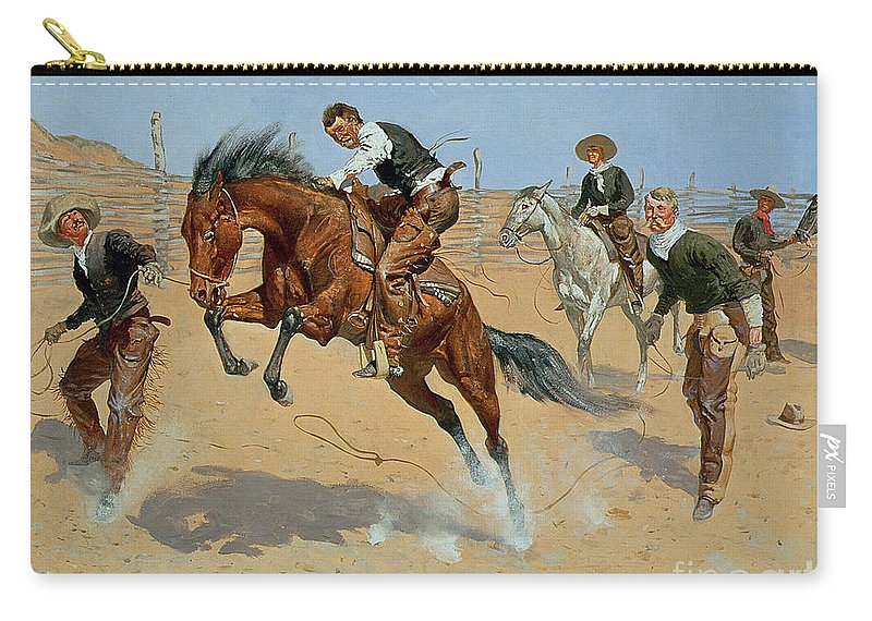 Turn Him Loose Carry-all Pouch featuring the painting Turn Him Loose by Frederic Remington