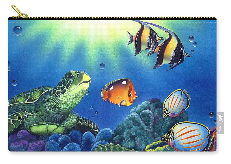 Turtle Carry-all Pouch featuring the painting Turtle Dreams by Angie Hamlin