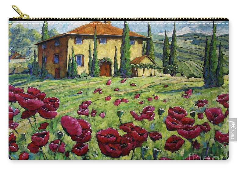 Art Carry-all Pouch featuring the painting Tuscan Poppies by Richard T Pranke