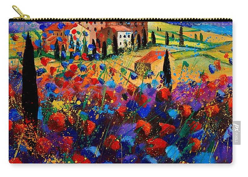 Flowers Carry-all Pouch featuring the painting Tuscany Poppies by Pol Ledent