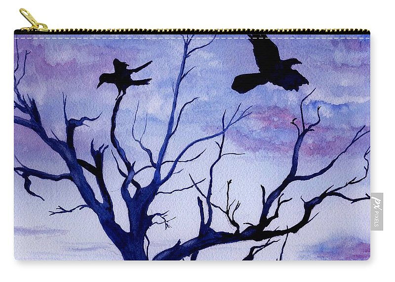 Watercolor Landscape Birds Raven Crow Flight Tree Sunset Sky Blue Clouds Scenic Carry-all Pouch featuring the painting Twilight Flight by Brenda Owen