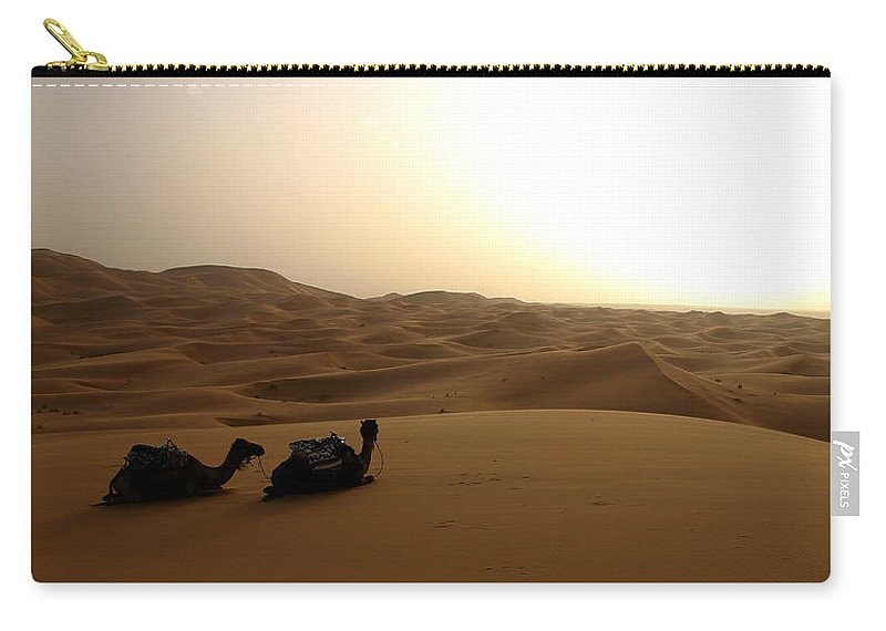 Camel Carry-all Pouch featuring the photograph Two Camels At Sunset In The Desert by Ralph A Ledergerber-Photography