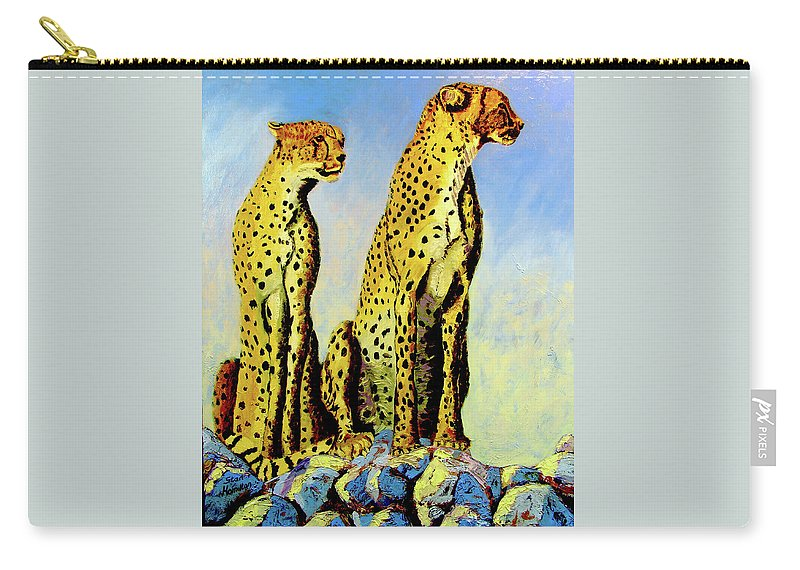 Cheetahs Carry-all Pouch featuring the painting Two Cheetahs by Stan Hamilton
