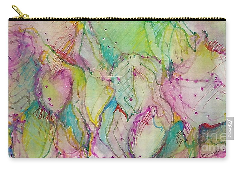 Abstract Carry-all Pouch featuring the painting Two Lips by Jan Bennicoff