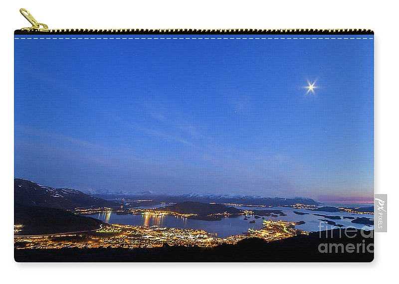 Ulsteinvik Carry-all Pouch featuring the photograph Ulsteinvik City by Arild Lilleboe