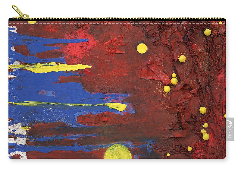 Red Carry-all Pouch featuring the mixed media Untitled by Jaime Becker