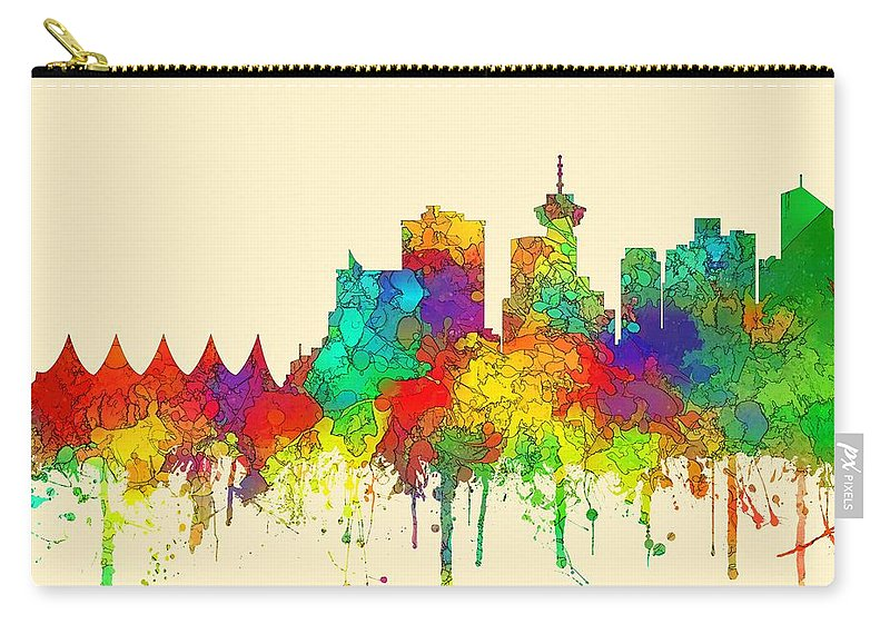 Vancouver B.c. Skyline Carry-all Pouch featuring the digital art Vancouver B.c. Skyline by Marlene Watson