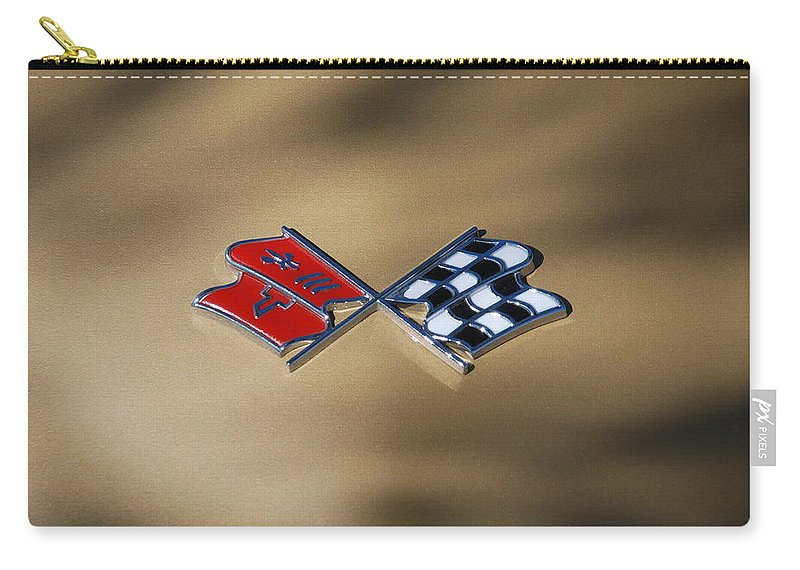 Corvette Carry-all Pouch featuring the photograph Vette Flags by Rob Hans