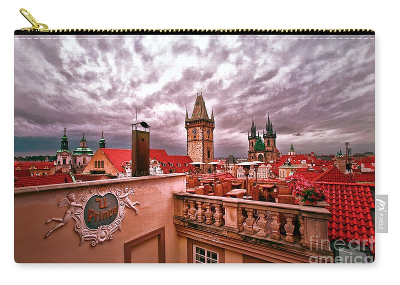 Prague Carry-all Pouch featuring the photograph View From The Top In Prague by Madeline Ellis