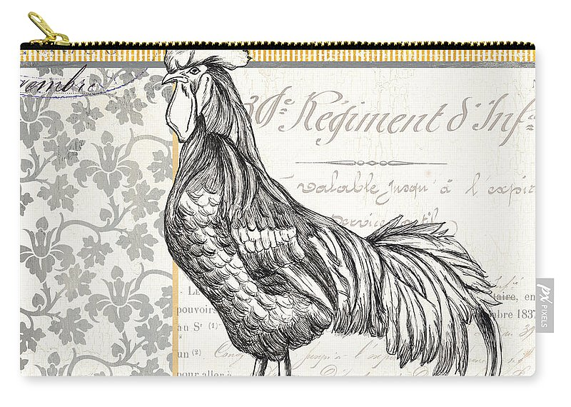 Rooster Carry-all Pouch featuring the painting Vintage Farm 1 by Debbie DeWitt