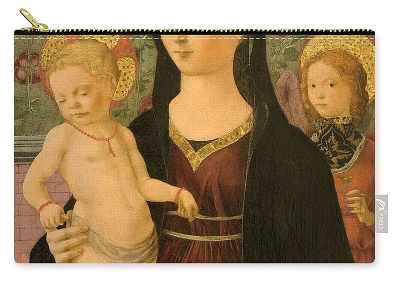 Francesco Del Cossa Carry-all Pouch featuring the painting Virgin And Child With An Angel by Francesco del Cossa