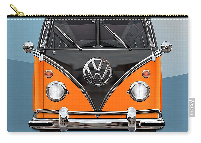 'volkswagen Type 2' Collection By Serge Averbukh Carry-all Pouch featuring the photograph Volkswagen Type 2 - Black And Orange Volkswagen T 1 Samba Bus Over Blue by Serge Averbukh