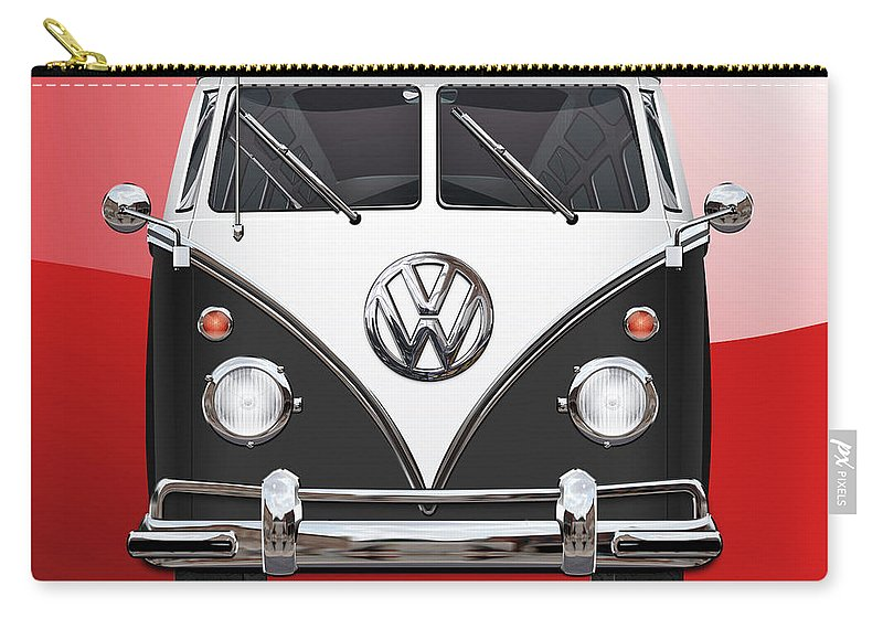 'volkswagen Type 2' Collection By Serge Averbukh Carry-all Pouch featuring the photograph Volkswagen Type 2 - Black and White Volkswagen T 1 Samba Bus on Red by Serge Averbukh