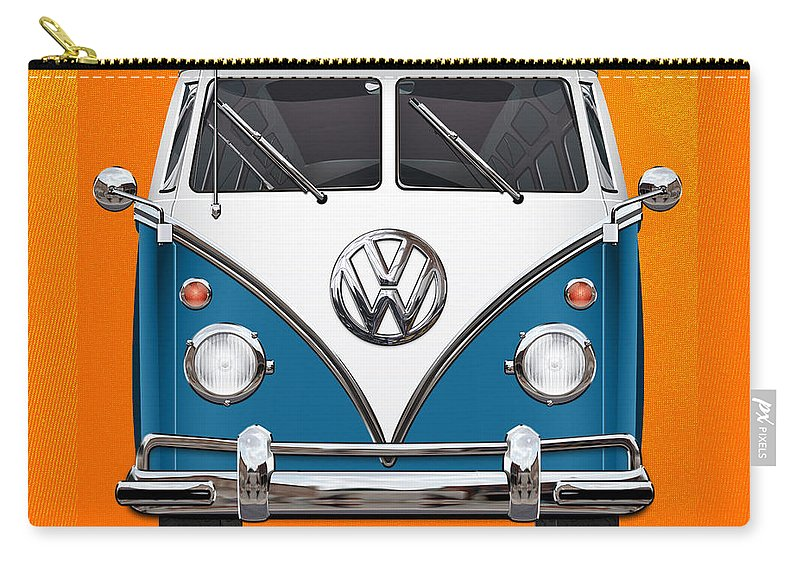 'volkswagen Type 2' Collection By Serge Averbukh Carry-all Pouch featuring the photograph Volkswagen Type 2 - Blue and White Volkswagen T 1 Samba Bus over Orange Canvas by Serge Averbukh