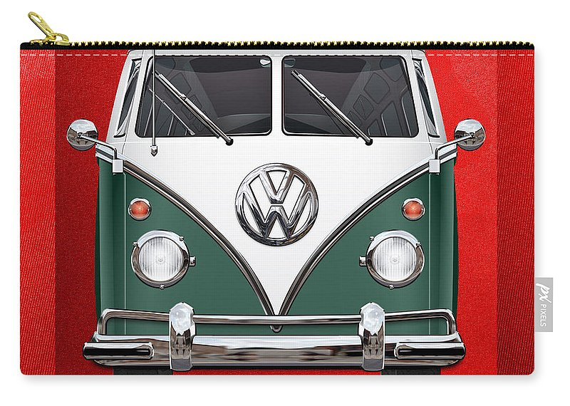 'volkswagen Type 2' Collection By Serge Averbukh Carry-all Pouch featuring the photograph Volkswagen Type 2 - Green And White Volkswagen T 1 Samba Bus Over Red Canvas by Serge Averbukh