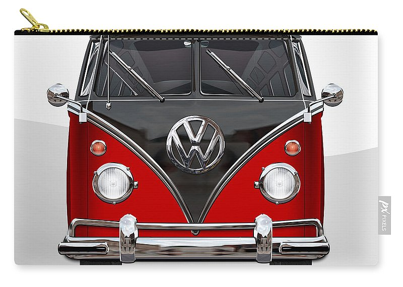 'volkswagen Type 2' Collection By Serge Averbukh Carry-all Pouch featuring the photograph Volkswagen Type 2 - Red and Black Volkswagen T 1 Samba Bus on White by Serge Averbukh