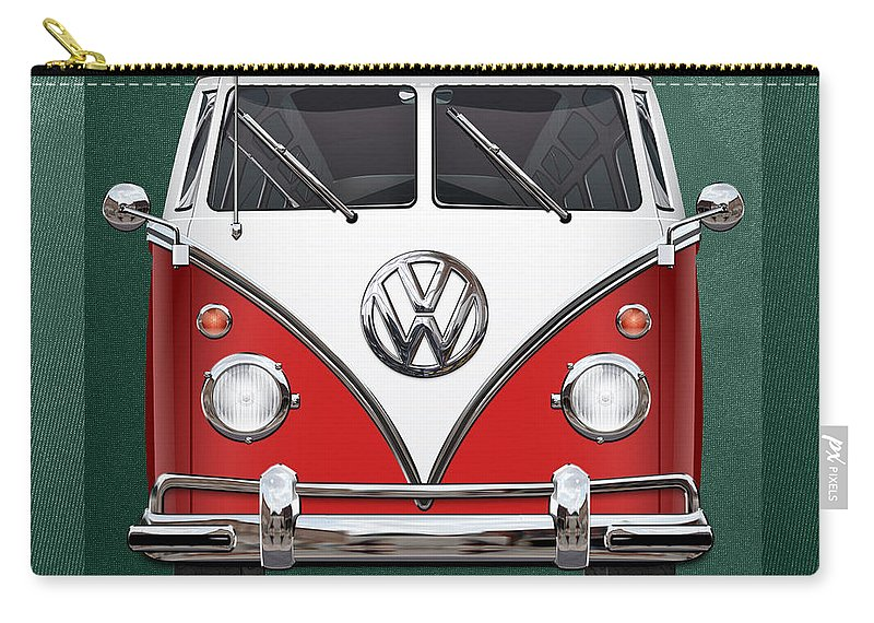 'volkswagen Type 2' Collection By Serge Averbukh Carry-all Pouch featuring the photograph Volkswagen Type 2 - Red and White Volkswagen T 1 Samba Bus over Green Canvas by Serge Averbukh