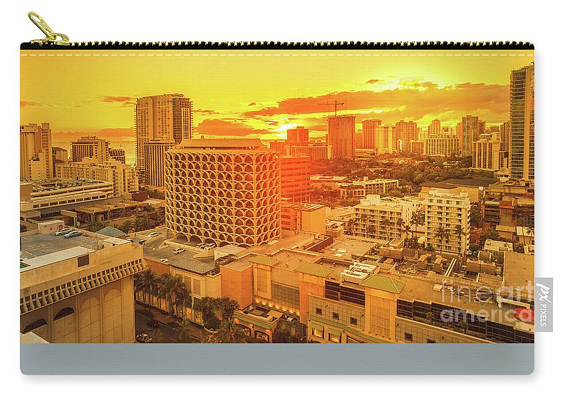 Waikiki Carry-all Pouch featuring the photograph Waikiki City Sunset by Benny Marty