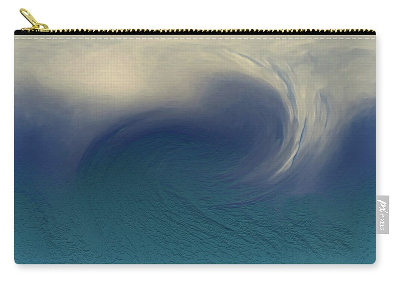 Abstract Wave Blue White Carry-all Pouch featuring the digital art Water And Clouds by Linda Sannuti