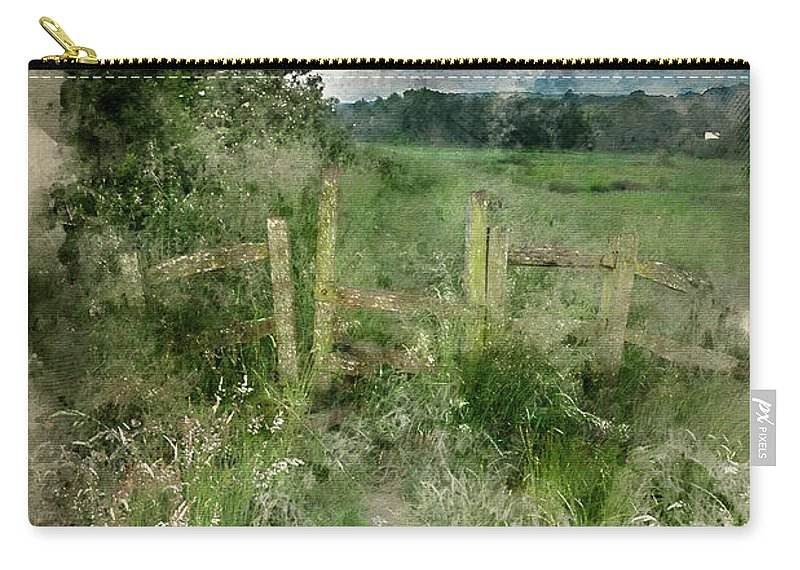 Landscape Carry-all Pouch featuring the photograph Watercolor Painting Of Beautiful Vibrant Summer Sunrise Over Eng by Matthew Gibson