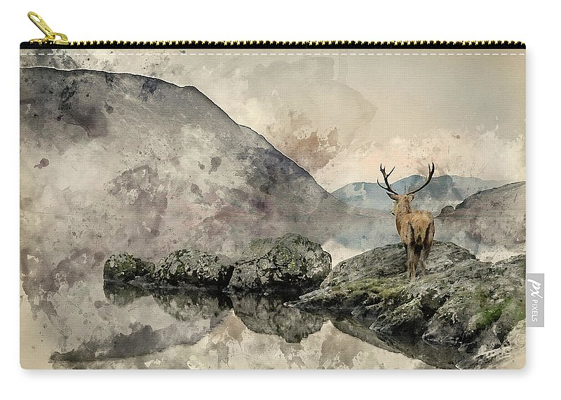 Red Deer Carry-all Pouch featuring the photograph Watercolor Painting Of Stunning Powerful Red Deer Stag Looks Out by Matthew Gibson