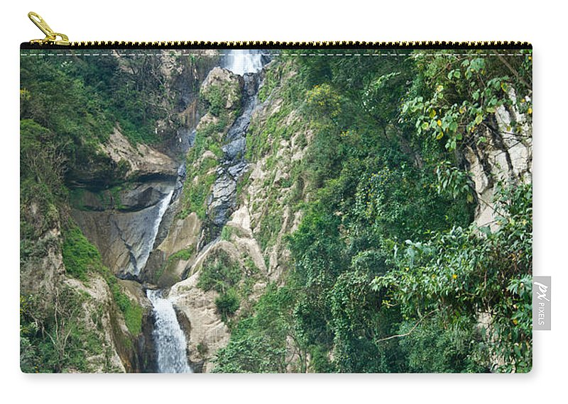 Waterfall Carry-all Pouch featuring the photograph Waterfall Highlands Of Guatemala 1 by Douglas Barnett