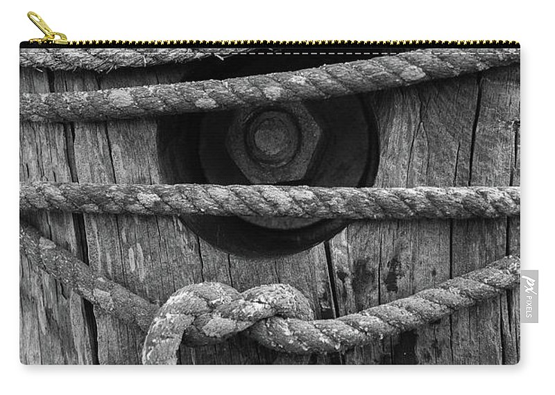 Rope Carry-all Pouch featuring the photograph Weathered Rope by Terri Mongeon