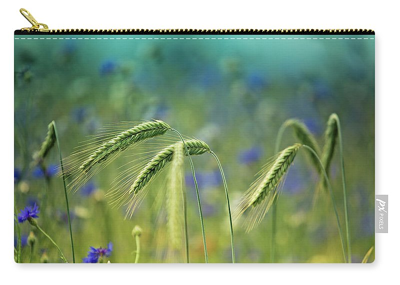 Wheat Carry-all Pouch featuring the photograph Wheat And Corn Flowers by Nailia Schwarz