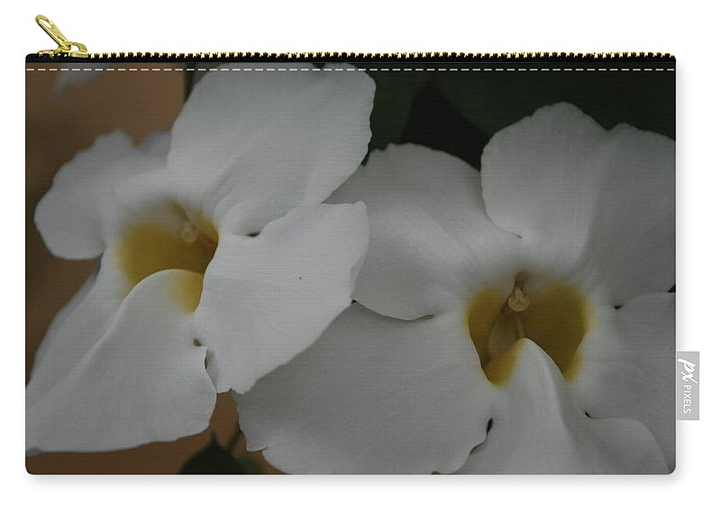 Macro Carry-all Pouch featuring the photograph White Orchids by Rob Hans