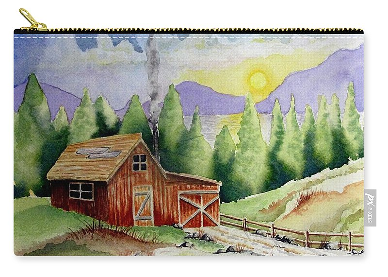 Cabin Carry-all Pouch featuring the painting Wilderness Cabin by Jimmy Smith