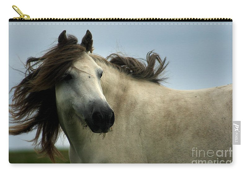Horse Carry-all Pouch featuring the photograph Wind In The Mane by Angel Ciesniarska
