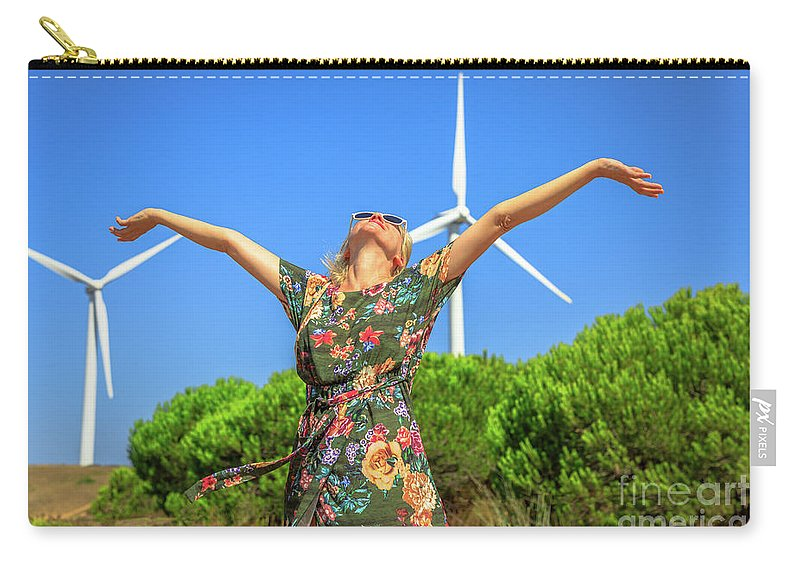 Wind Turbines Carry-all Pouch featuring the photograph Wind Turbines Woman by Benny Marty