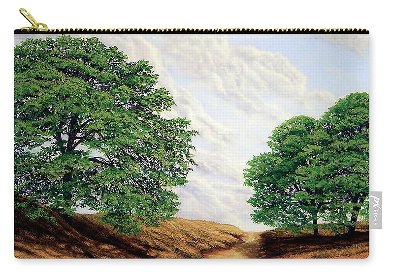 Windblown Clouds Carry-all Pouch featuring the painting Windblown Clouds by Frank Wilson