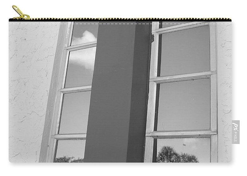 Black And White Carry-all Pouch featuring the photograph Window T Glass by Rob Hans