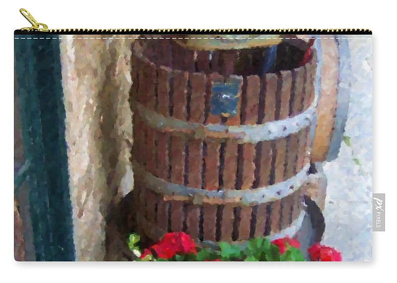 Geraniums Carry-all Pouch featuring the photograph Wine And Geraniums by Debbi Granruth
