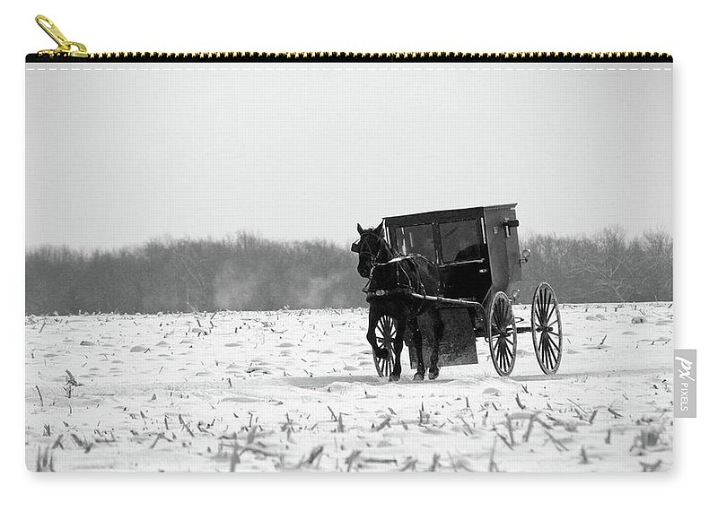 Amish Buggy Carry-all Pouch featuring the photograph Winter Buggy by David Arment