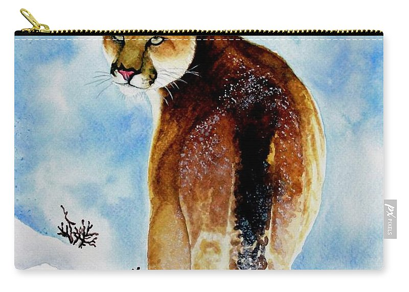 Cougar Carry-all Pouch featuring the painting Winter Cougar by Jimmy Smith