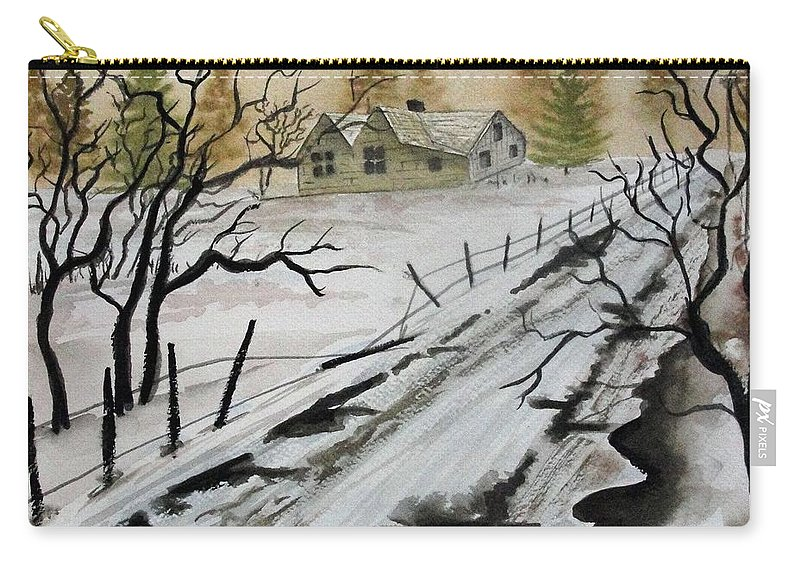 Building Carry-all Pouch featuring the painting Winter Farmhouse by Jimmy Smith