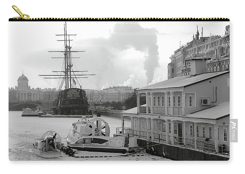 Mary Raven Carry-all Pouch featuring the photograph Winter On The River by Mary Raven