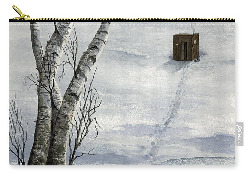Fishing Carry-all Pouch featuring the painting Winter Splendor by Mary Tuomi