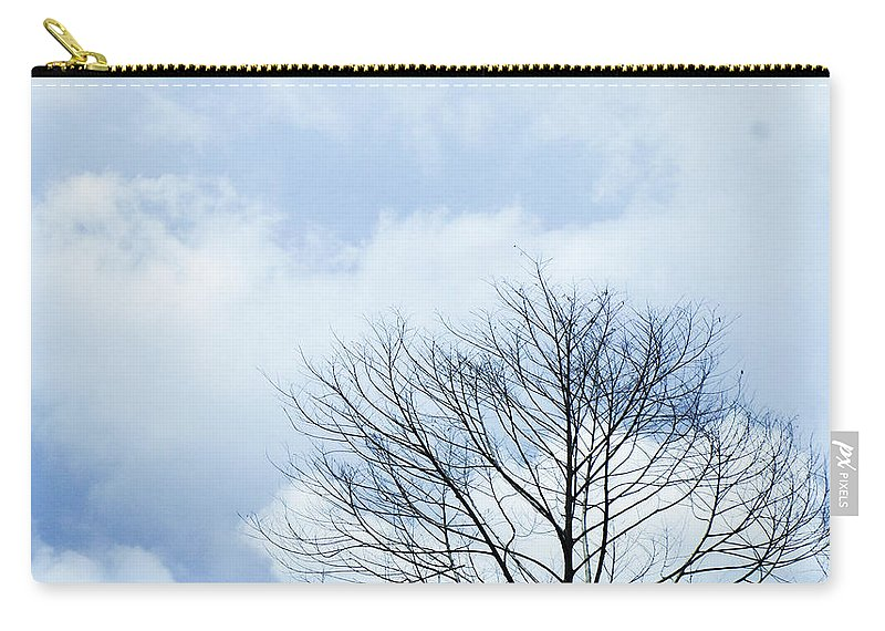 Winter Fall White Sky Carry-all Pouch featuring the photograph Winter Tree by Adelista J