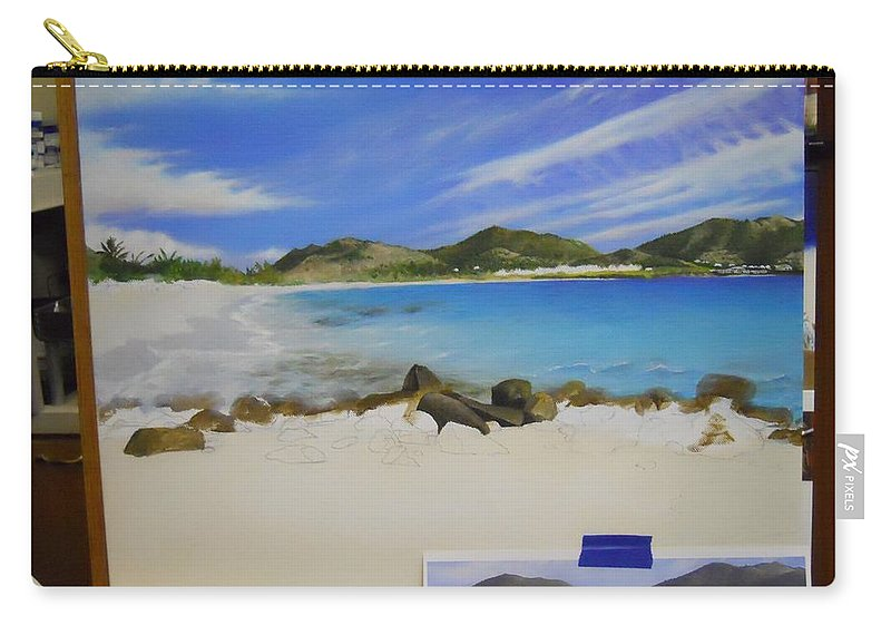 Carry-all Pouch featuring the painting Wip- Orient Beach by Cindy D Chinn